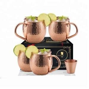 Custom Moscow Mule Antique Hammered Stainless Steel Copper Mugs With Riveted Handle