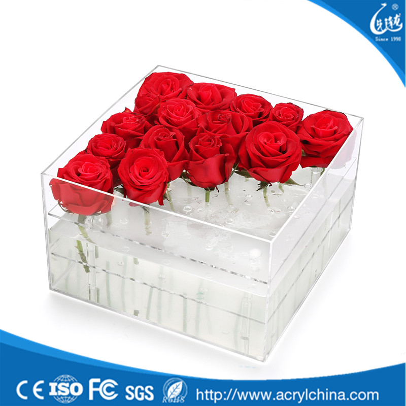 New Style Mini Clear acrylic flower box clear with lid rose box acrylic