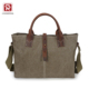 Vintage canvas travel shoulder laptop messenger bags for women with genuine leather handle