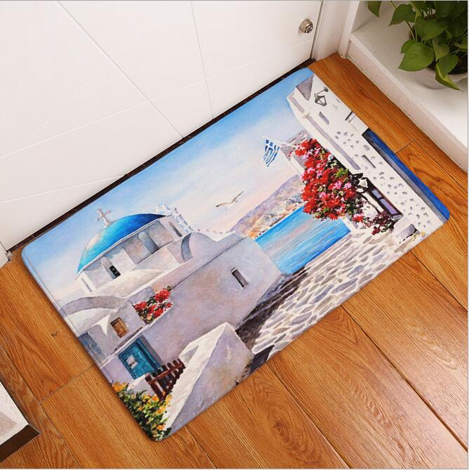 New Seaside Town Printed Mat Anti-Slip Decor Doormat Foot Pad Bathroom  Kitchen Hallway Carpets Floor Mat For Living Room 40 60cm - us827 f28fdba7e1a0