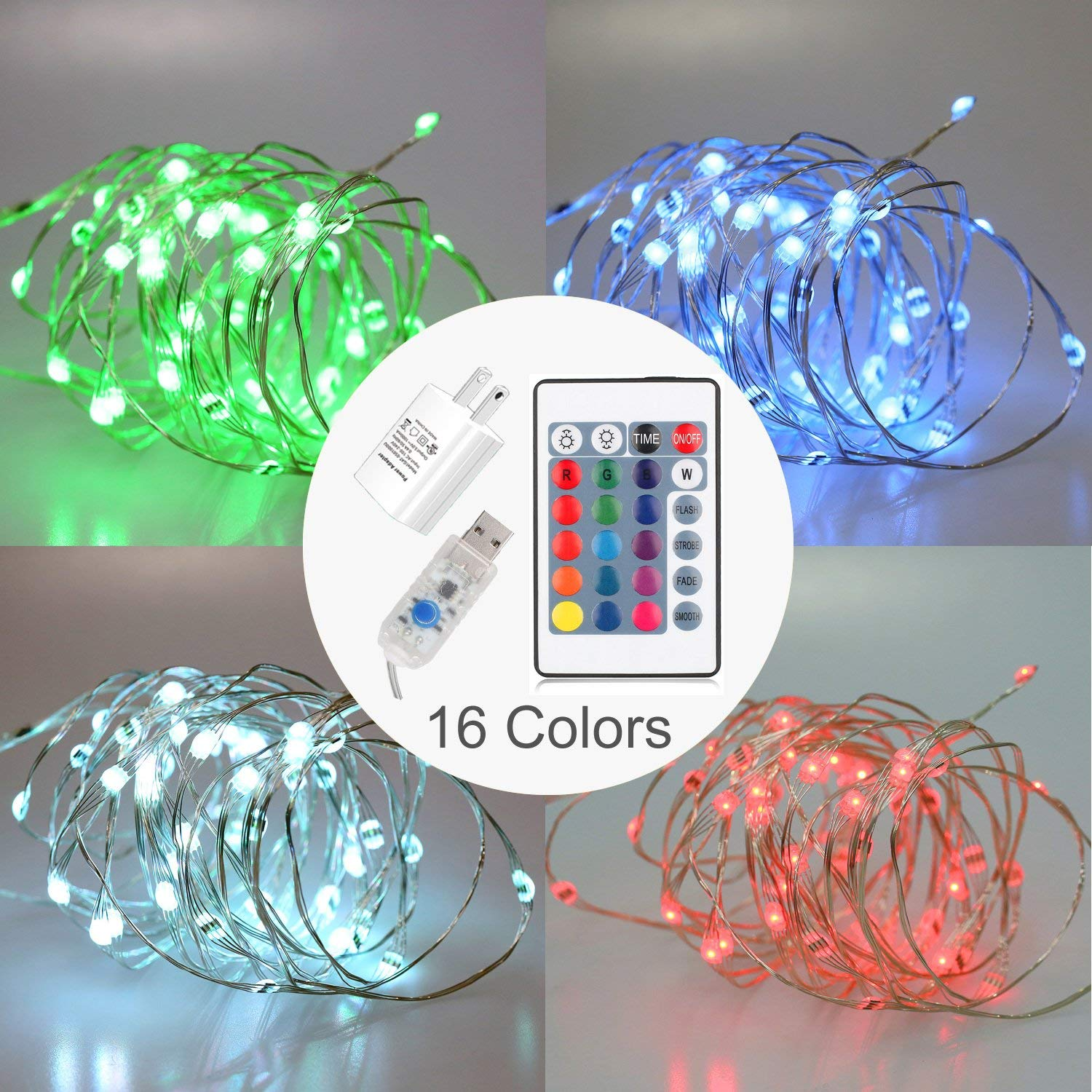 JOEONE LED String Lights USB AC Power - Timer Remote Control Dimmable, 16ft 50 LEDs Multi Color Copper Wire for Christmas Decorative and Holiday Decor