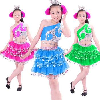 4a9501d96 Supply beautiful show girls dance costume kids modern dance arabic  Mongolian dance sequin costume