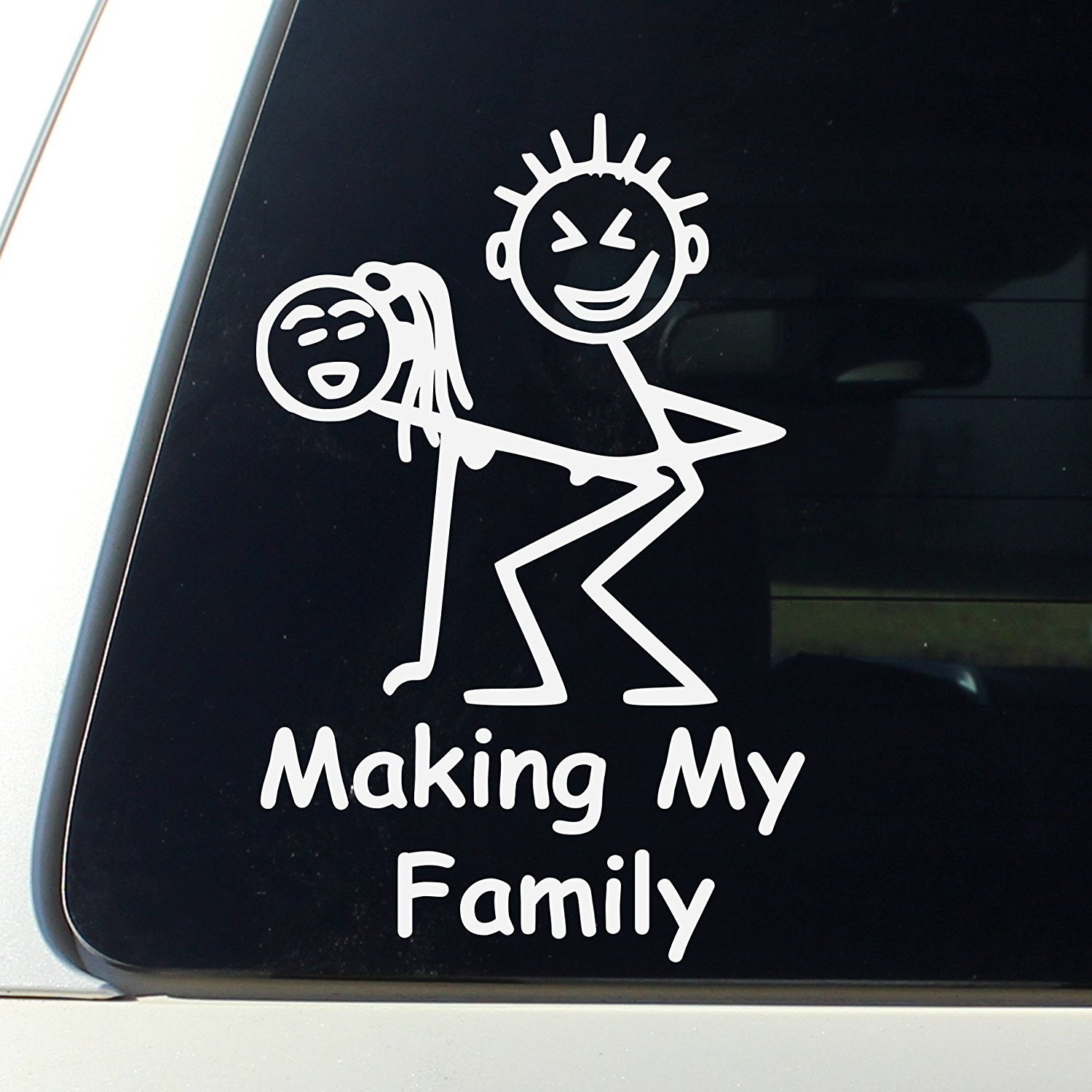 Making My Family Funny Stick Figure Family - Decal Bumper Sticker Window - Funny Jeep Stickers Decals Funny Signs