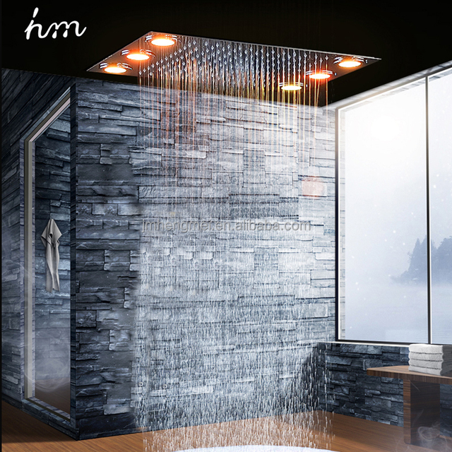 Ceiling Recessed Electric Led Big Rain Shower Head 304 Stainless Steel  Rainfall Massage Shower 360*