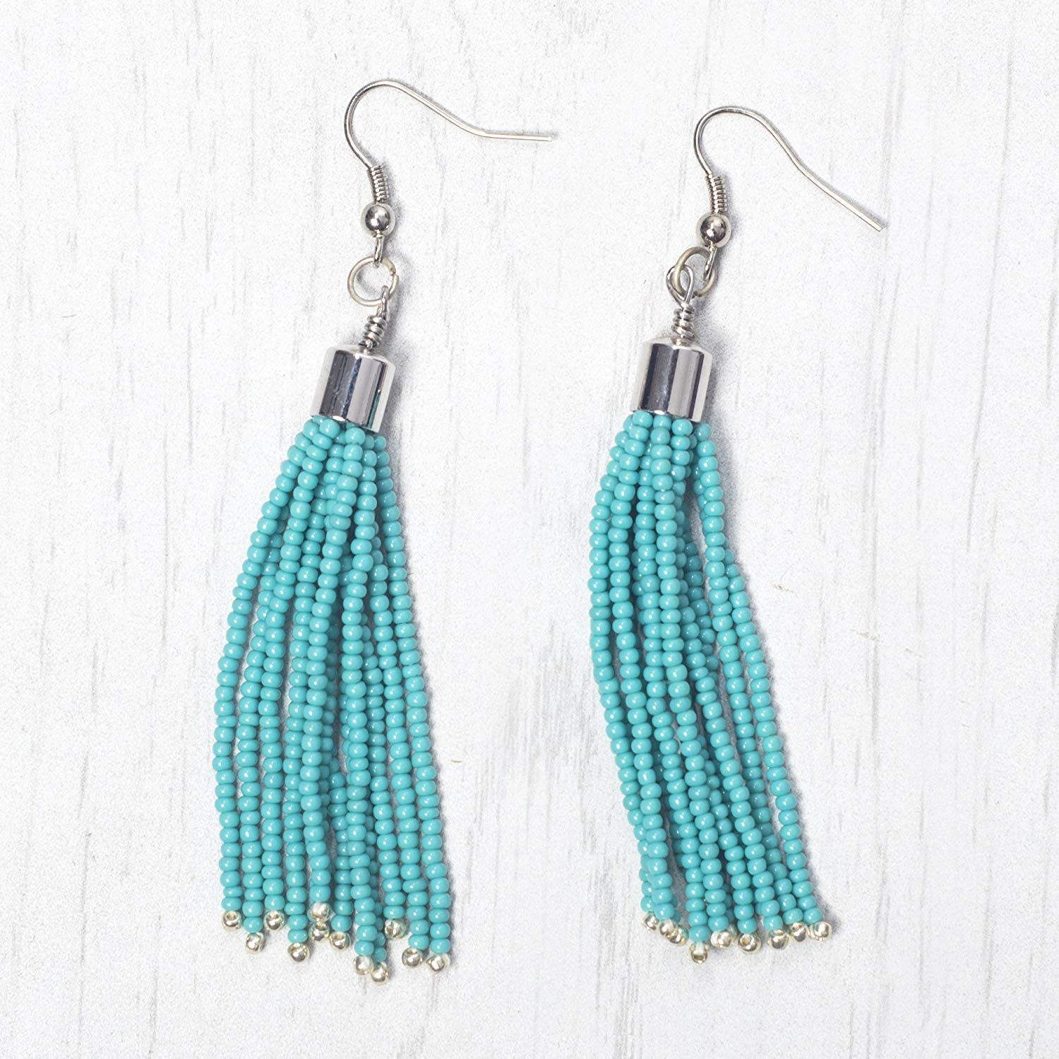 Turquoise with accent of Galvanised Silver Seed Beaded Tassel Earring with Rhodium Plated Brass Findings