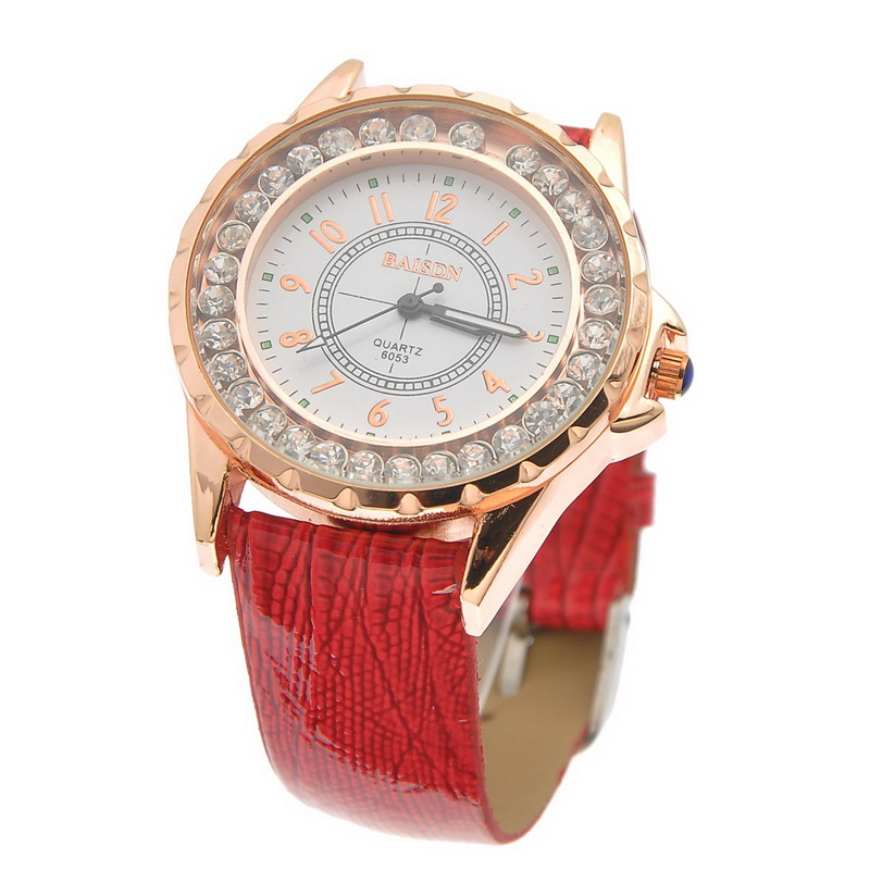 2015 women's watches White Dial Red Leather Delicate Rhinestone Fashion Lady Women Wrist Watch watches