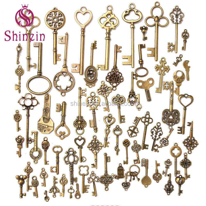 Wholesale 70pcs mixed key design antique metal charm <strong>pendant</strong> for note book decoration