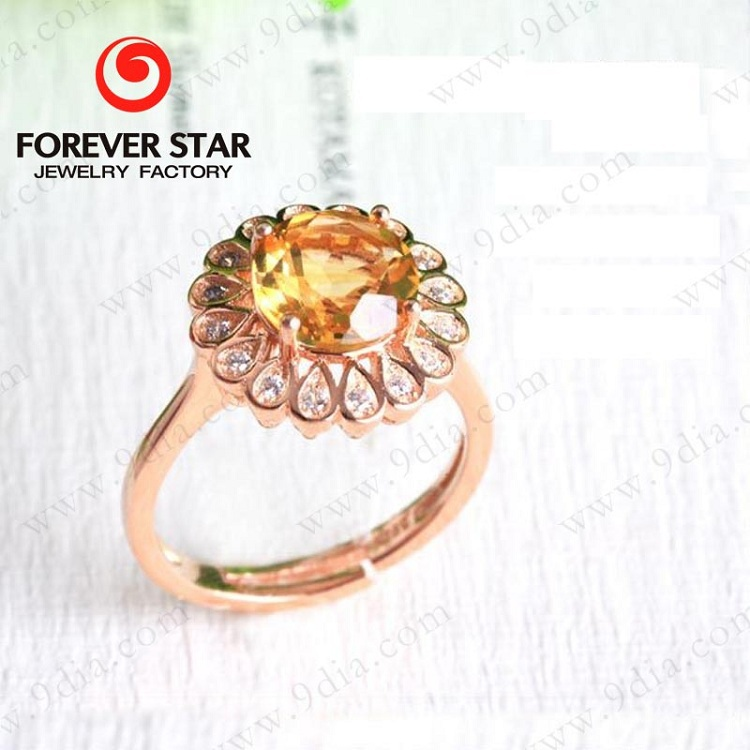Fashion Female Gold Ring With Citrine Stone New Gold Ring Design ...