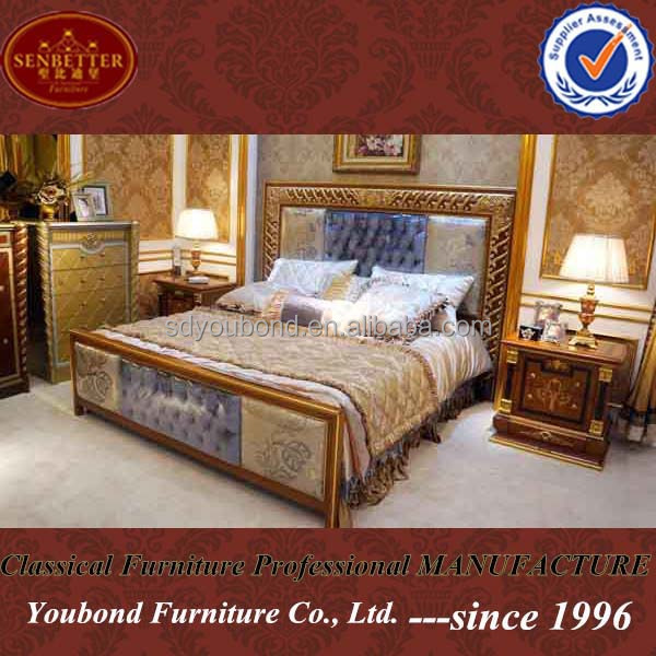 0062-2 neo-classical high end design solid wood bed furniture