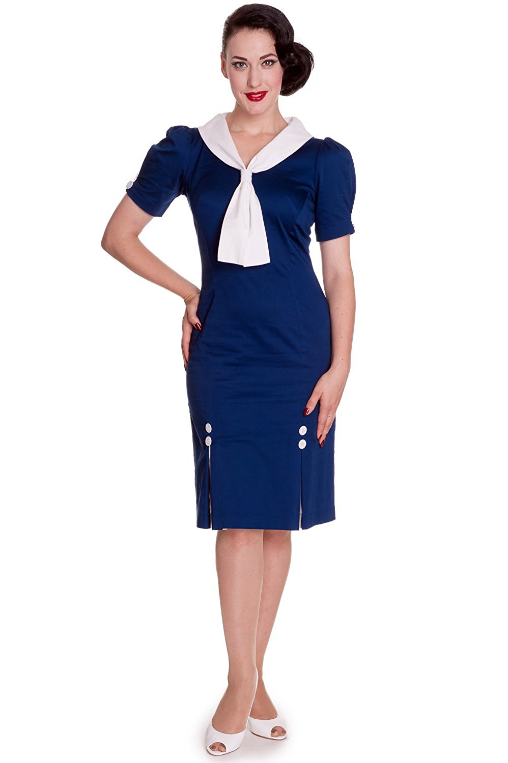37f51424448 Get Quotations · Hell Bunny 60 s Ahoy Pinup Sailor Navy Blue Pencil Dress  with Sailor Tie