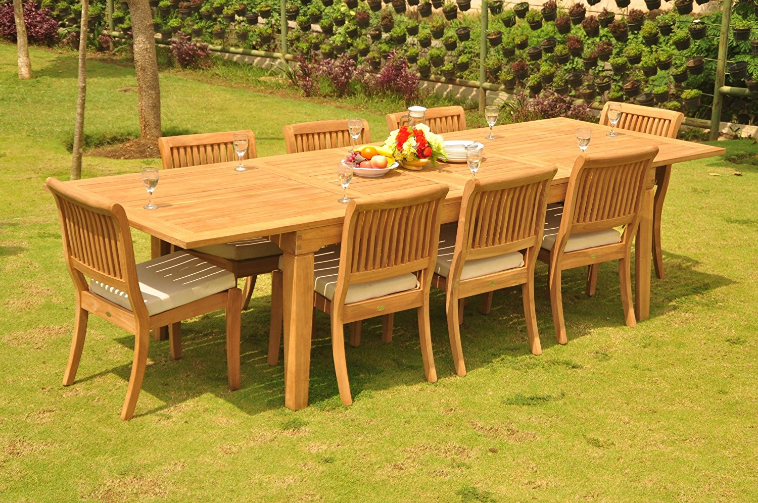 """TeakStation 8 Seater Grade-A Teak Wood 9 Pc Dining Set: Very Large Caranasas 122"""" Double Extensions Premium Rectangle Dining Table & 8 Armless Arbor Stacking Chairs #TSDSAB46"""