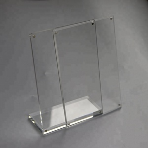 slanted vertical 216x280mm clear perspex sign holder 8.5x11 L shape magnetic acrylic PMMA photo frame name card stand