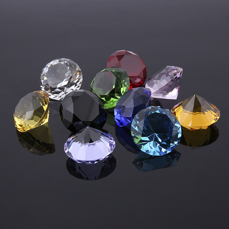 Decorative Faceted Crystal Diamond With Different  Price Crystal Diamond Decoration Glass Gems Colors