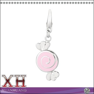 Beautiful Wrapped Candy Charm 925 Sterling Silver Pendant Clip-on Clasp Charm