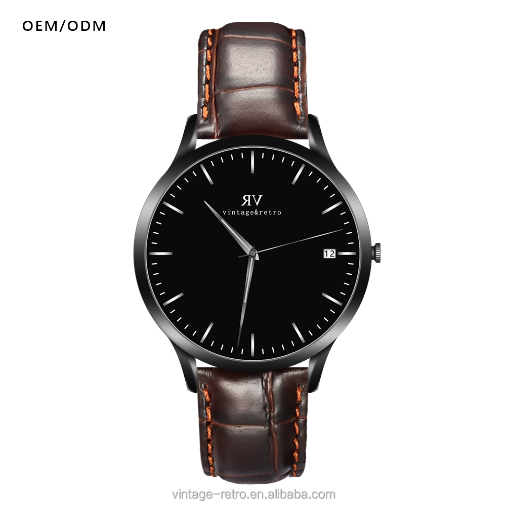 Simple design casual style crocodile leather strap 3 atm waterproof analog men wirst watch
