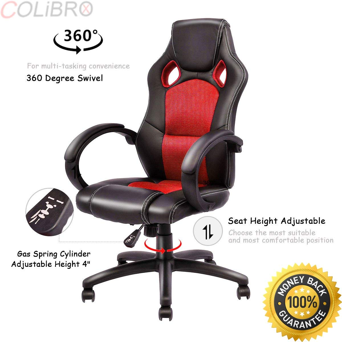 COLIBROX--High Back Racing Chair Bucket Seat Office Desk Gaming Chair Swivel Executive New. new high back racing car style bucket seat office desk chair gaming chair.bucket seat gaming chair.