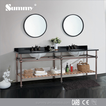 hot sale hotel design double wash basin stainless steel frame matel bathroom cabinet set for hotel - Stainless Steel Hotel Design