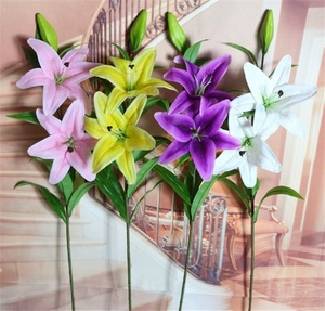 Single stem 3 heads lily bridal wedding artificial flowers party decor bouquet PU real touch flower