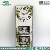 2016 new rectangle 2 photo wooden wall clock , antique reproduction french clock