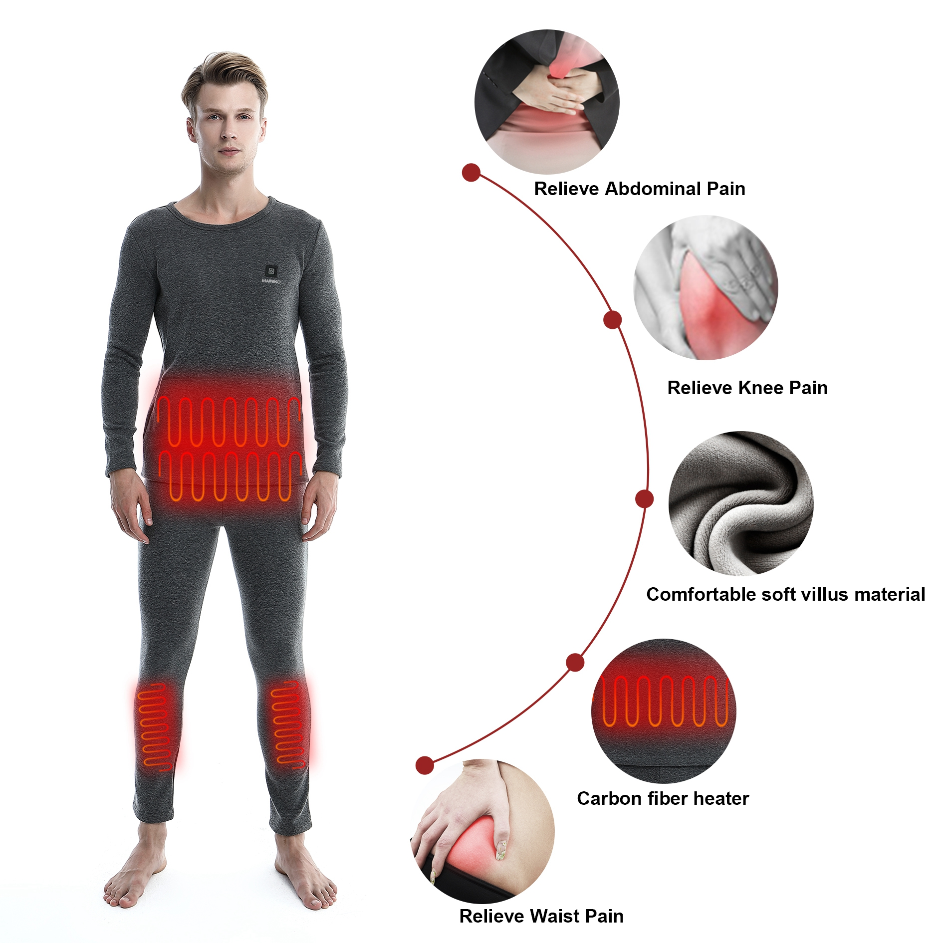 100 Cotton Winter Usb Electric Battery Operated Breathable Heated Long Johns