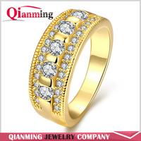 New Women Engagement Austrian Crystal 24K yellow gold Rose Gold platinum Filled Full Zircon Ring Wedding Bride Jewelry