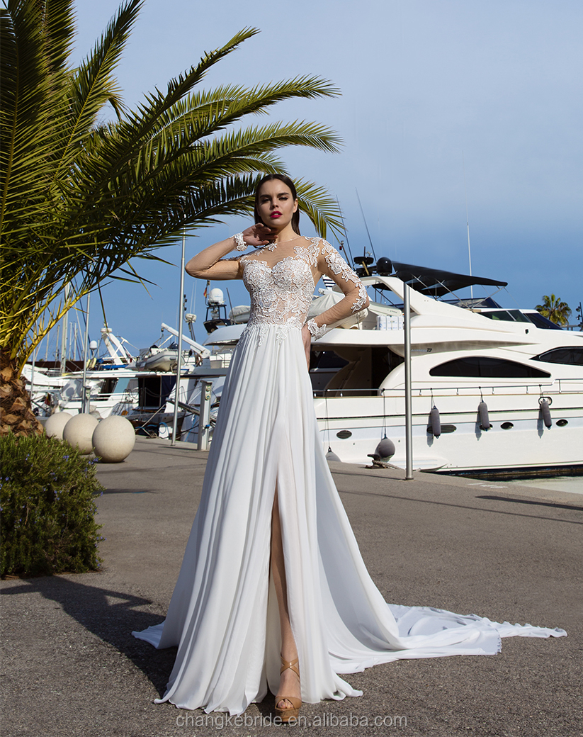Sexy Mexico Bridal Gown Chiffon Split Side Applique Long Beach