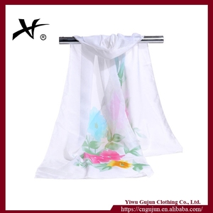 Latest hot selling ! women fashion white silk scarves for dying