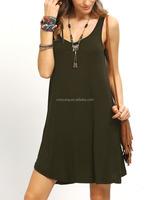 Women apparel simple design 2016 fashion sleeveless casual short dresses SY1620