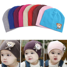 2015 Dot Pattern Baby Hat Winter Knitted Baby Beanies For Child Kids Boys Girls Toddler Cotton Cap Infants Hat