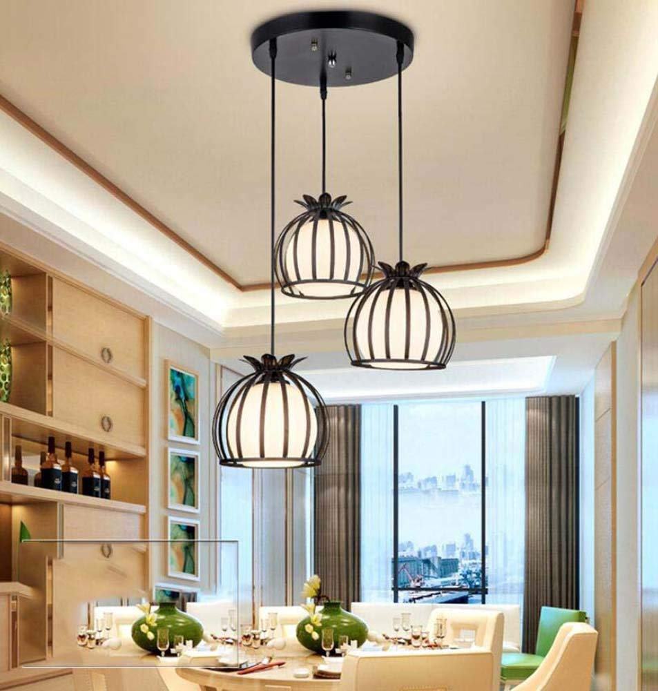 Iron Hollow Pendant Lamp Round Petal Wind Bell Chandelier 3 Head Restaurant/clothing Store Hanging Lamp Deco Lights(without Bulb) (Color : Black, Size : Round)