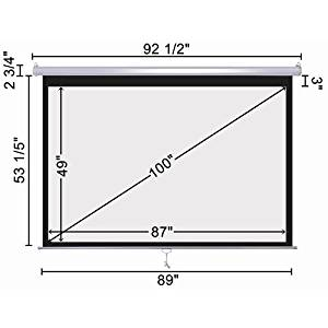 """100""""-16:9 Manual Pull Down Projector Screen Projection Matte White HD Movie"""