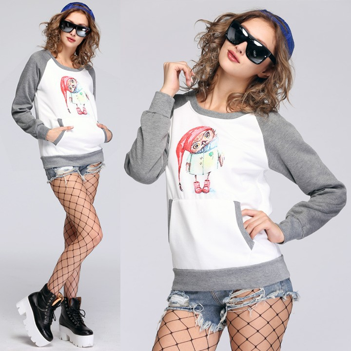 Women's Cartoon Owl Long Sleeve Pocket Women's Sweatshirts Without ...