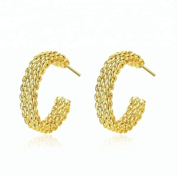 Fashion popular gold braid earrings jewellery sale online for womens