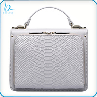 Fashion design python embossed genuine leather handbag for women