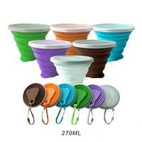 Custom 270ml Logo Colorful Outdoor Travel Silicone Foldable Water Collapsible Cup with lid