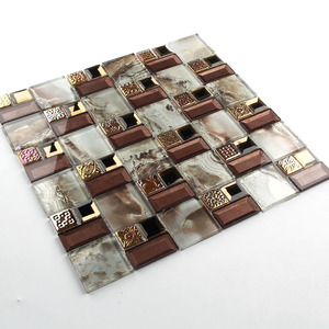 Wall Decoration Pearl Color Crystal Mixed Brown 3D Mirror Glass Mosaic Wall Tiles