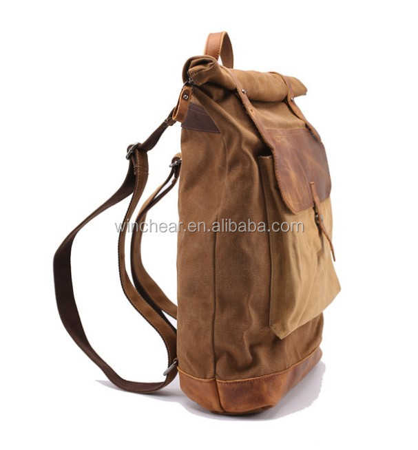 Durable big capacity retro travel casual laptop backbags waxed canvas backpack rucksack for men