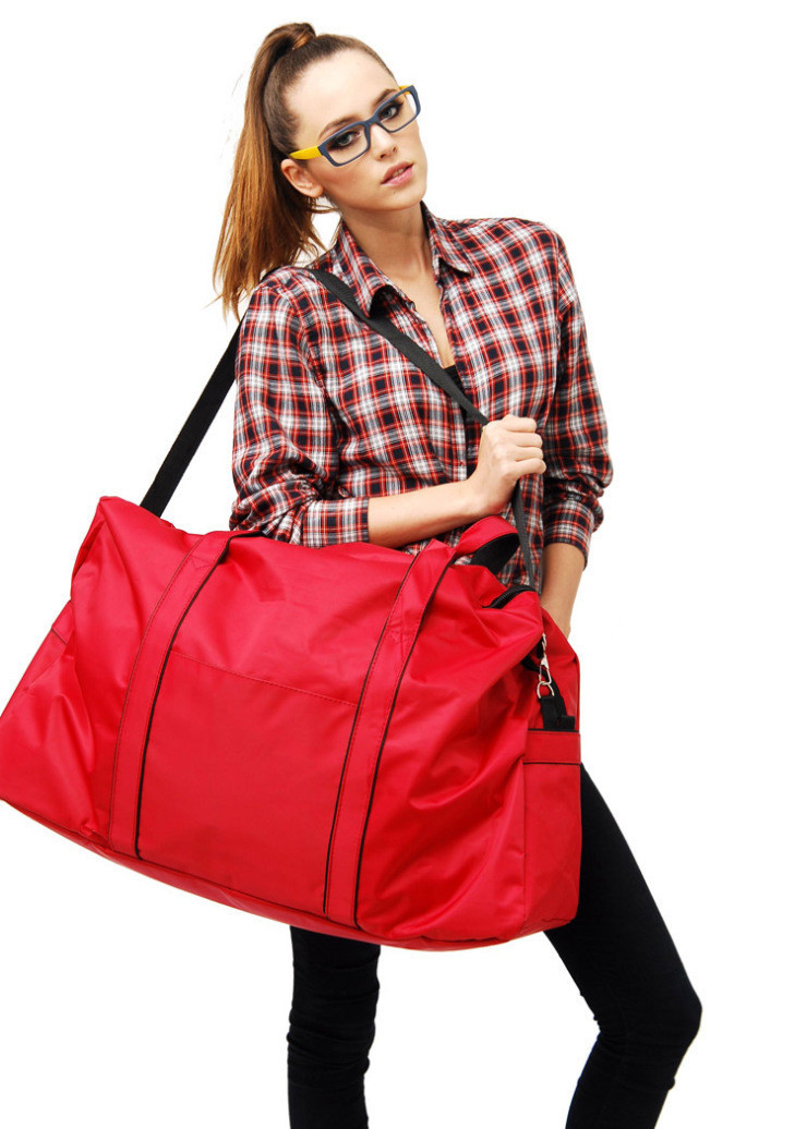 Nylon Waterproof Large Yoga Gym Bag Women Big Bags For travel Woman Solid Fold Big Travel Bag Ladies Carry On Luggage Duffel Bag