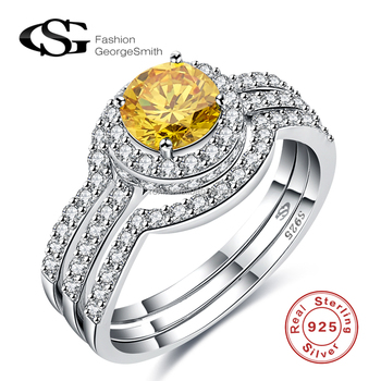 White gold wedding rings round shape champagne color zircon 925 Sterling Silver Rings set three rings