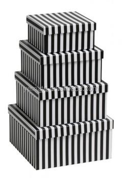 Superieur Fashion Rectange Cardboard Matte Black Box, Black And White Stripe Box,  Black Paper Shoe