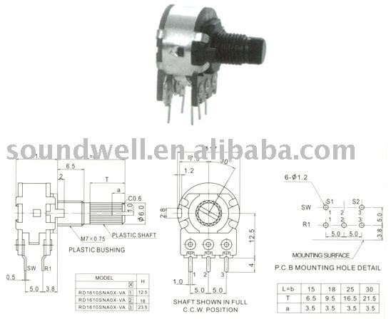 16mm Rotary Potentiometer With Switch (plastic Shaft) Rd1610snyox ...