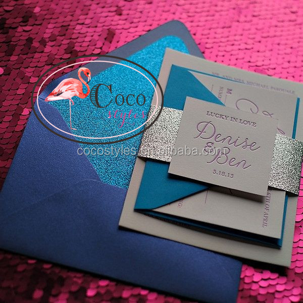 silver and blue glitter wedding invitation card