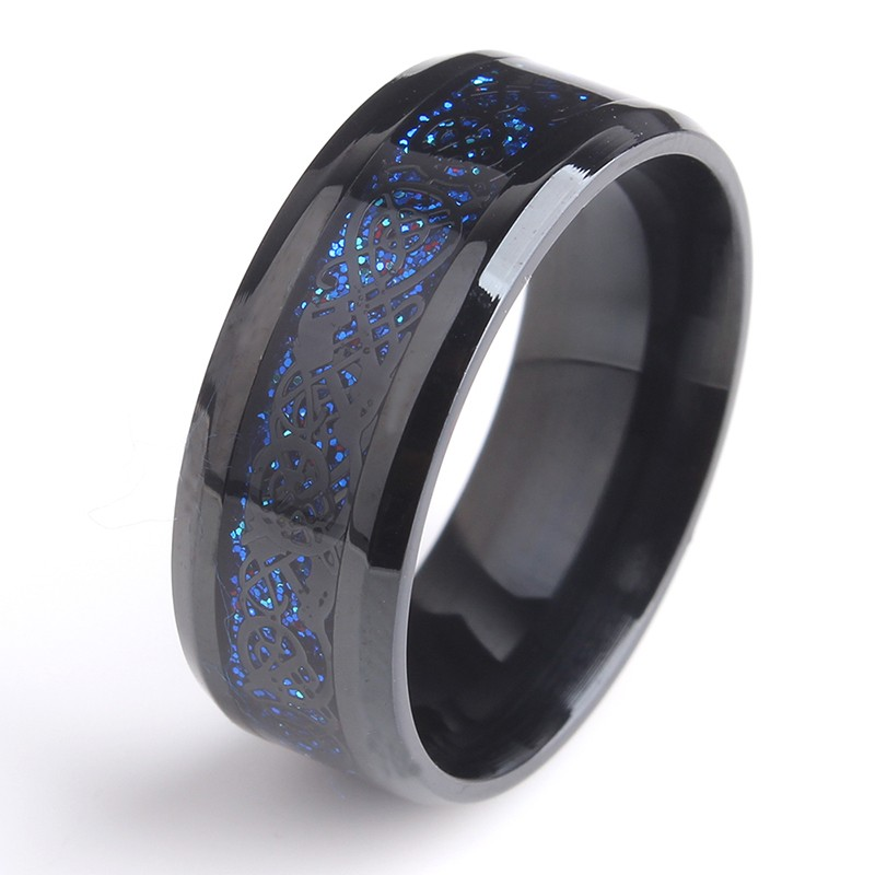 Blue Black Dragon Stainless Steel Ring, <strong>Silver</strong> UP mark inlaid Ring Jewelry