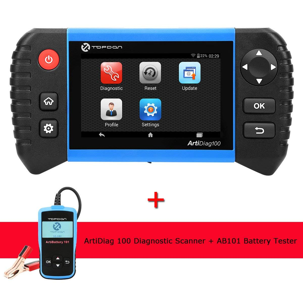 TT TOPDON Diagnostic Scanner with AB101 Battery Tester, Full Sytem Diagnostic Scan Tool with Oil Reset, EPB Reset, BMS Reset, SAS Reset, DPF Regeneration Functions