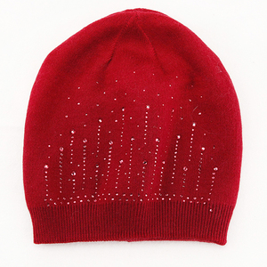 Bling Bling Decorative Fashionable Jewelry Decor Stretchy Unisex Rhinestone Knitted Beanie Hat