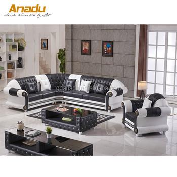 Heated Dubai And Saudi Arabia Style Furniture Of Corner Vintage Leather Sofa