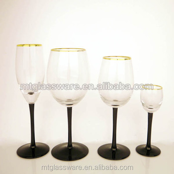 Cheap Wholesale Gold Ring And Black Stem Cheap Red Wine