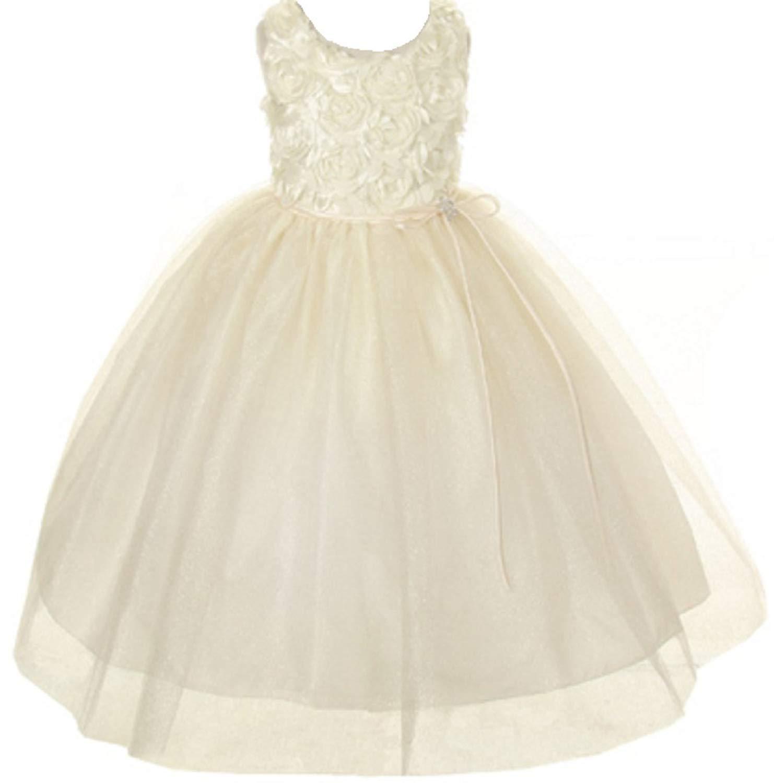 ab9c2219aaa03 Get Quotations · Little Girls Rosette Sparkle Tulle Rhinestone Brooch Flowers  Girls Dresses