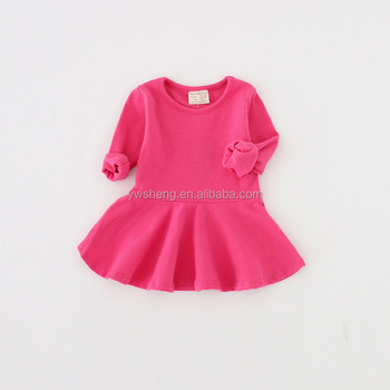 New fashion baby girl winter dress solid color long sleeve dress little  girl plain cotton autumn dda58ae2b9de