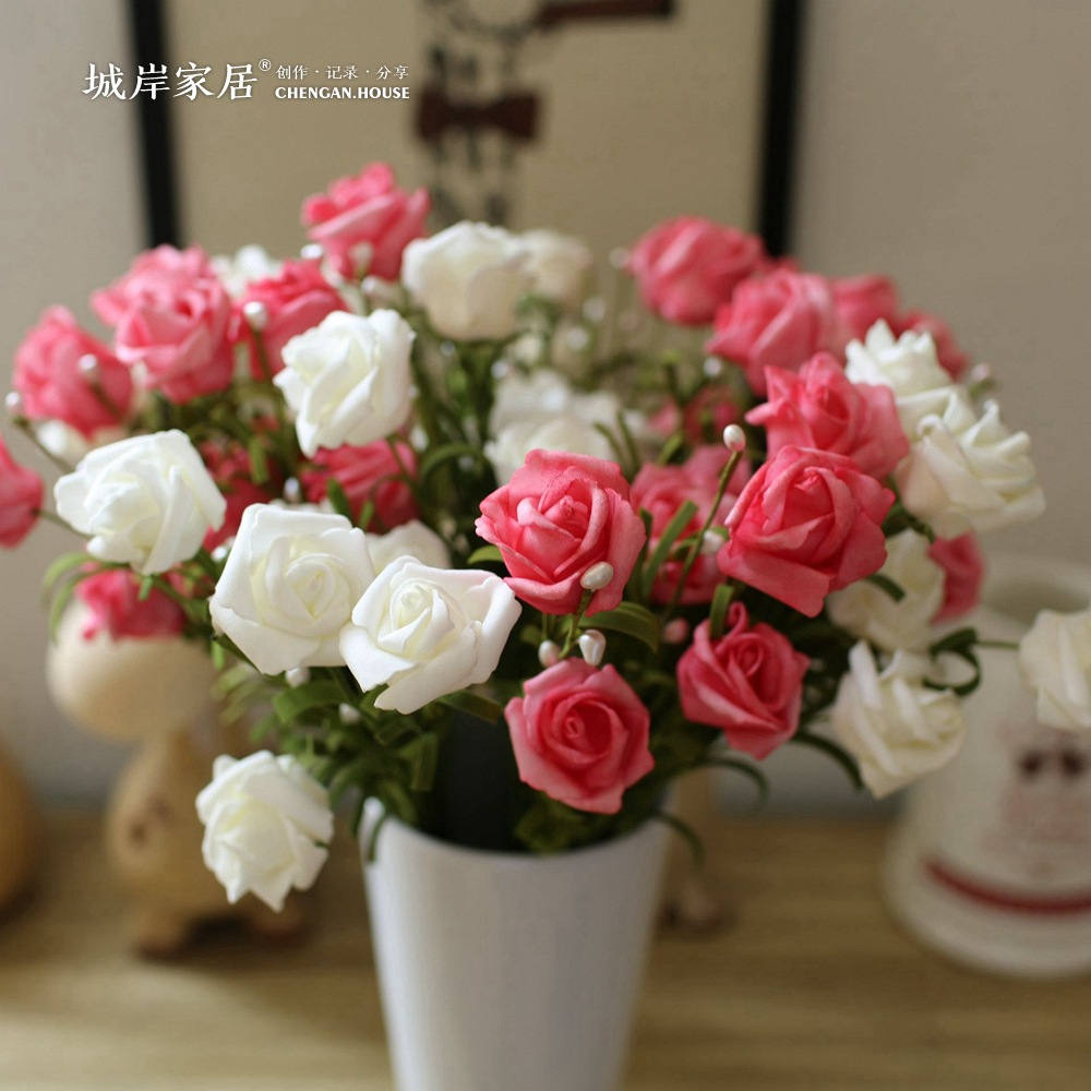 Spring Pearl Rose Flower 10 Pieces Silk Flowers With Leaves Flower Bouquets Real Touch Flowers For Home Wedding Decoration F26 Spring Home Decor Olivia Decor Decor For Your Home And Office